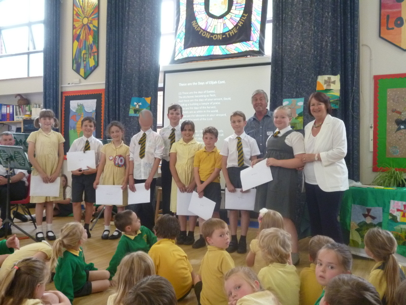 Award presentataion by Linda Scott OBE and Gordon Clarke, Trustees of the Napton Music Festival Trust.